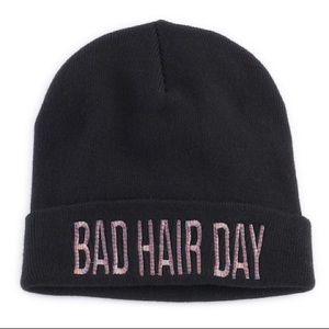 "Mudd Black ""Bad Hair Day"" Embroidered Beanie Hat"